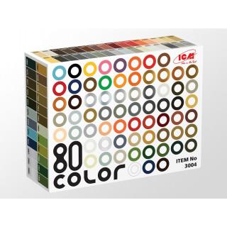Набор акриловых красок - Палитра 77 цветов + 3 лака